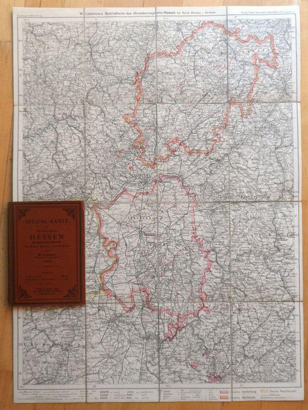 Liebenow, W. Spezial-Karte des Großherzogthums Hessen mit angrenzenden Länderteilen für Reise, Bureau und Verkehr