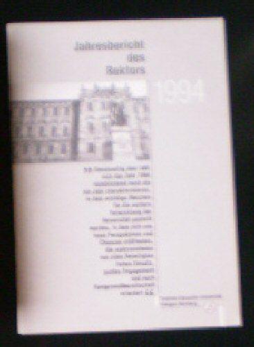 Japser, Gotthard Jahresbericht des Rektors, 1994