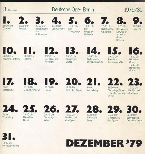 Deutsche Oper Dezember 1979 (Monatsprogram)