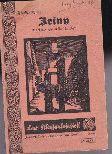 Körner, Theodor Zriny, Ein Trauerspiel in fünf Aufzügen