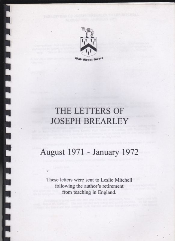 Brearley, Joseph The Letters of Joseph Brearley, August 1971 - January 1972