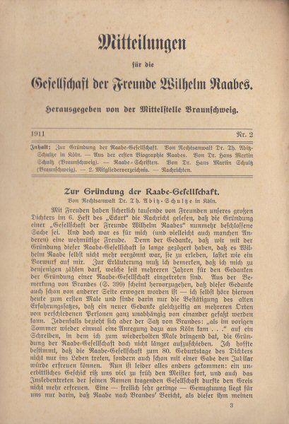 Engelbrecht, L (Ed.) Mitteilungen für die Gesellschaft der Freunde Wilhelm Raabes, 1911 Nr. 1
