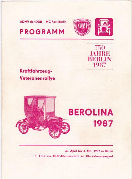 ADMV der DDR - MC Post Berlin Kraftfahrzeug-Veteranenrallye, Berolina 1987, Programm