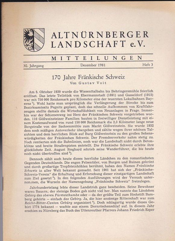 Altnürnberger Landschaft e. V. Mitteilungen Dezember 1981, 30. Jahrgang Heft 3