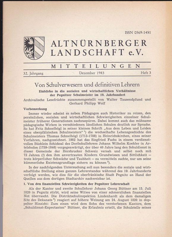 Altnürnberger Landschaft e. V. Mitteilungen Dezember 1983, 32. Jahrgang Heft 3