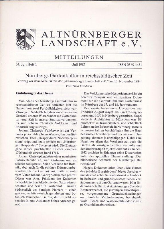 Altnürnberger Landschaft e. V. Mitteilungen Juli 1985, 34. Jahrgang Heft 1