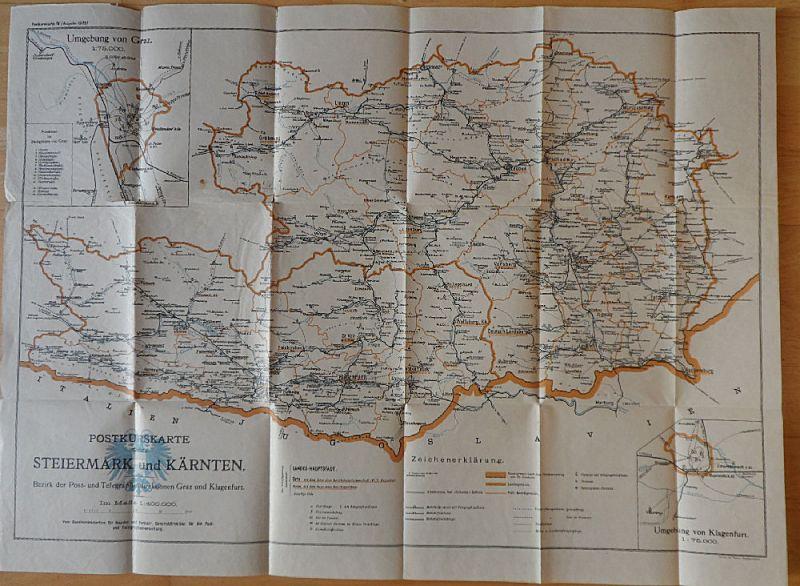 Bundesministerium für Handel und Verkehr Postkurskarte von Steiermark und Kärnten, Bezirk der Post- und Teledirektion Graz und Klagenfurt
