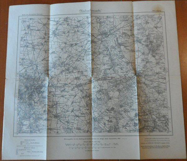 Abteilung für Landesaufnahme des Königl. Sächs. Generalstabes (Hrsg.) Karte des deutschen Reiches Nr. 390 Leipzig, Umdruckausgabe 1:100.000