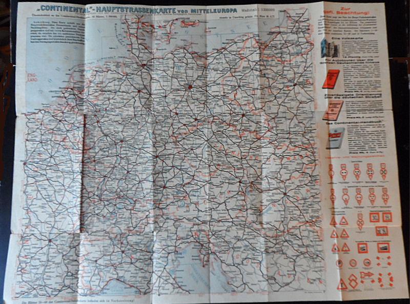 """Continental -Caoutchouc- und Gutta-Percha- Compagnie, Hannover (Hrsg) """"Continental""""-Hauptstrassenkarte von Mitteleuropa. Maßstab 1:3300000 - Übersichtsblatt zur Continental-Straßenkarte"""