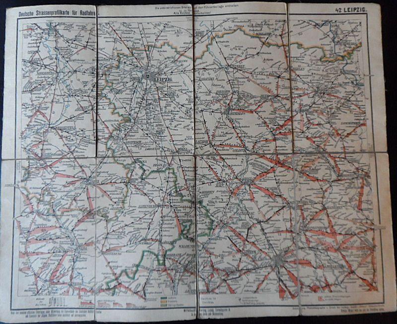 Deutsche Straßenprofilkarte für Radfahrer. Nr. 42 Leipzig