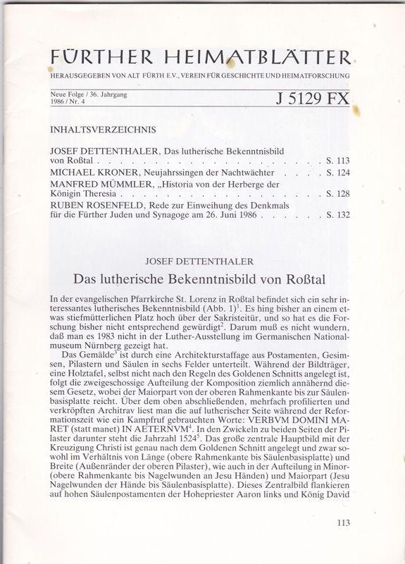 Verein für Geschichte und Heimatforschung Alt-Fürth,(Hrsg.) Fürther Heimatblätter Neue Folgen / 36. Jahrgang, 1986 / Nr. 4