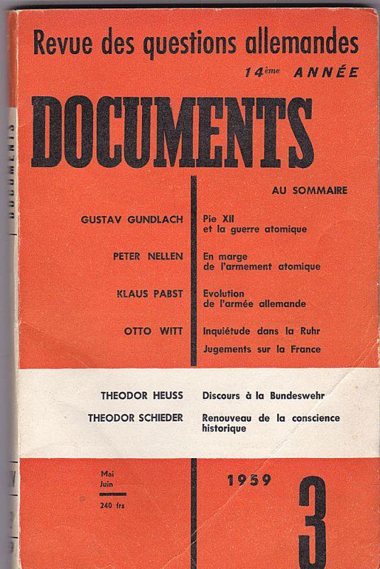 Wiss-Verdier (Ed) Documents. Revue des questions allemandes. 1959/ N° 3, Mai-Juni