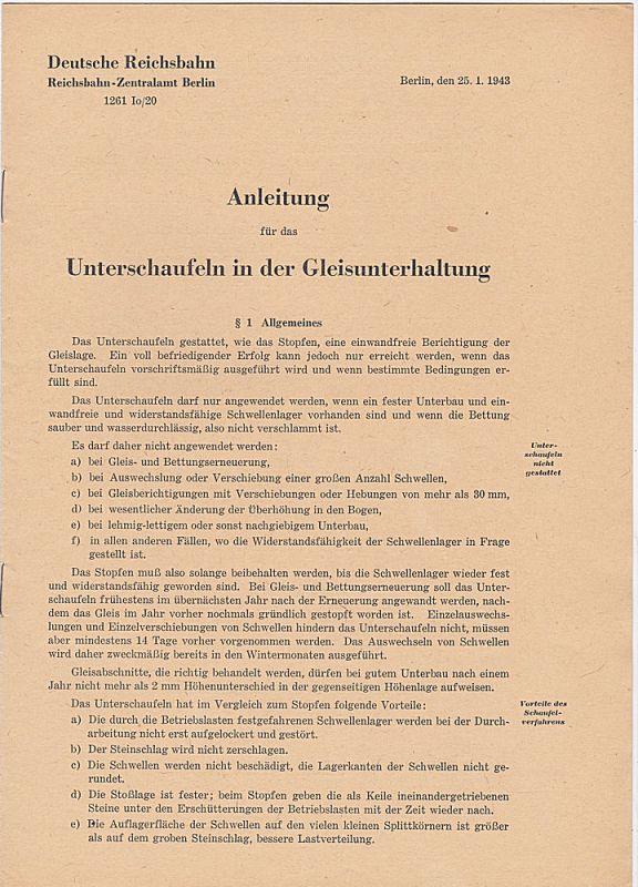 Deutsche Reichsbahn, Reichsbahn-Zentralamt Berlin Anleitung für das Unterschaufeln in der Gleisunterhaltung