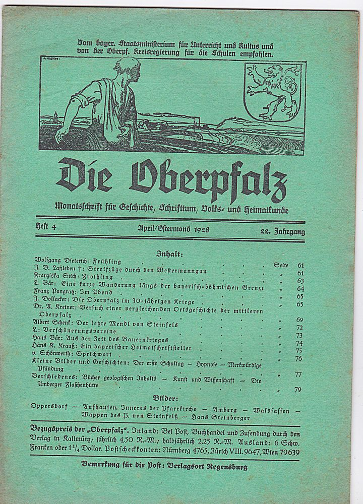 Laßleben, Michael (Hrsg.) Die Oberpfalz, 22. Jahrgang, Heft 4 April/Ostermond, 1928