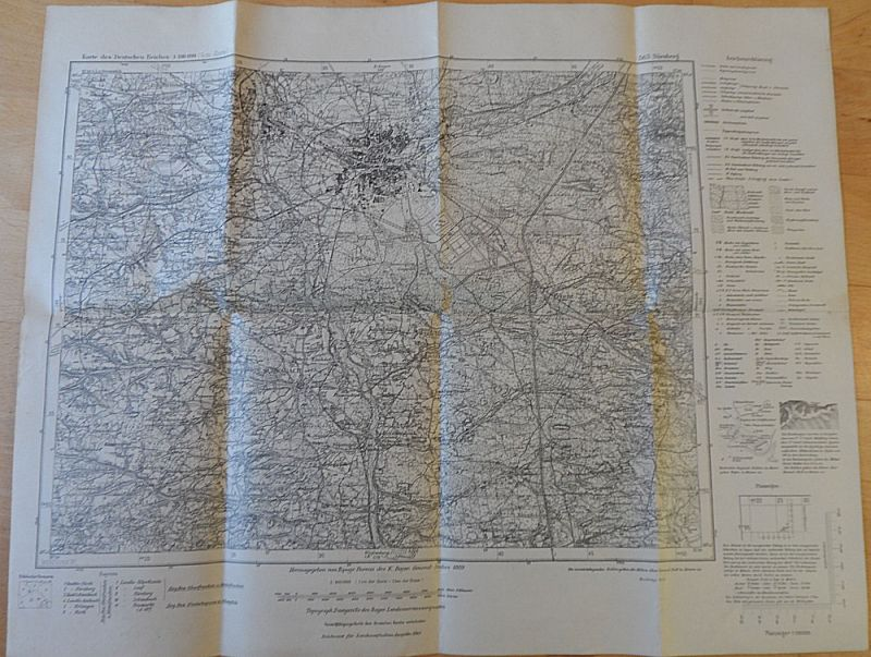 Topogr. Bureau des K. Bayer. General - Stabes, Topograph. Zweigstelle des Bayer. Landesvermessungsamts Karte des Deutschen Reiches 563 Nürnberg