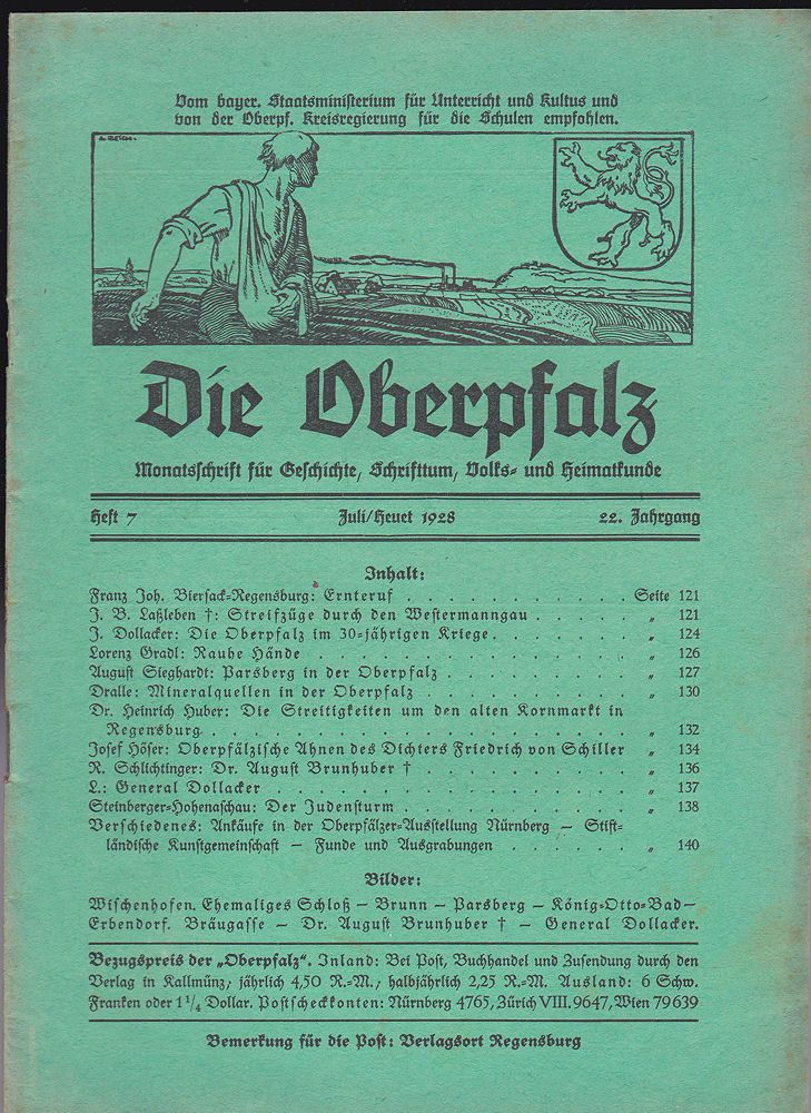 Laßleben, Michael (Hrsg.) Die Oberpfalz, 22. Jahrgang, Heft 7 Juli/Heuet 1928