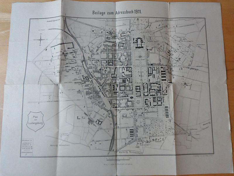 Ebner, Carl (Photolithographie) Plan von Ludwigsburg 1:8000 - Beilage zum Adessbuch 1911 (apart)