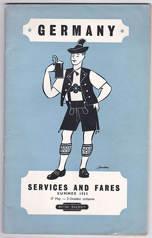 British Railways Germany - Services and Fares Summer 1953. 17 May- 3 October inclusive