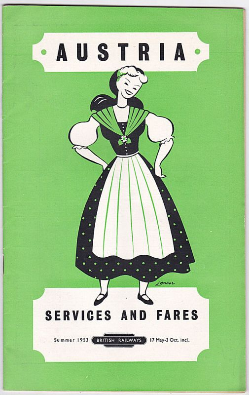 British Railways Austria - Services and Fares Summer 1953. 17 May- 3 October incl.
