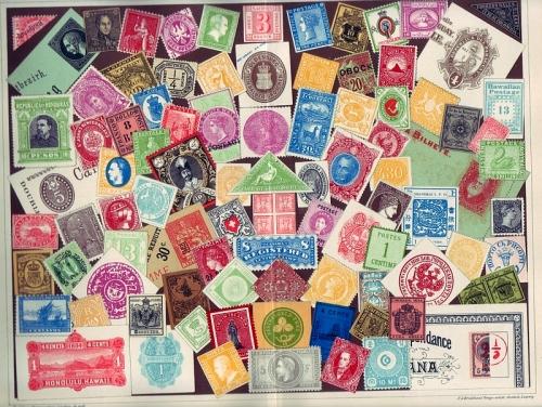 Postwertzeichen / Briefmarken. Chromolithographie.
