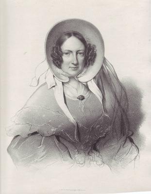Porträt einer Dame mit Biedermeier-Haube. Original-Lithographie.