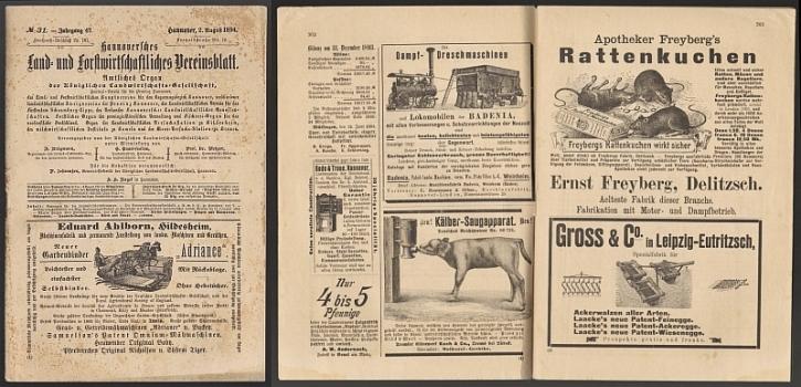 Königliche Landwirtschafts-Gesellschaft (Hg.) Hannoversches Land- und Forstwirtschaftliches Vereinsblatt. Amtliches Organ der Königlichen Landwirtschafts-Gesellschaft. 47. Jg. Nr. 31.