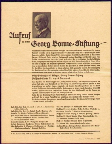 Eisinger, E. / Emil Abderhalden u.a. Aufruf zu einer Georg Bonne-Stiftung.