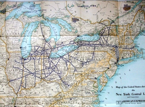 Rand McNally: Map of the United States showing the New York Central Lines and Connections.