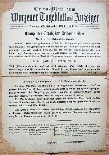 Wurzener Tageblatt und Anzeiger - Glänzender Erfolg der Kriegsanleihen : Extra-Blatt zum Wurzener Tageblatt und Anzeiger, Sonntag, 20. September 1914.