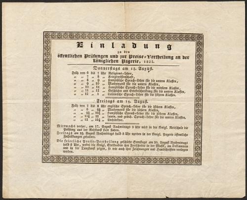 Königlich Bayerische Pagerie. Einladung zu den öffentlichen Prüfungen und zur Preise-Vertheilung an der Königlichen Pagerie 1825.