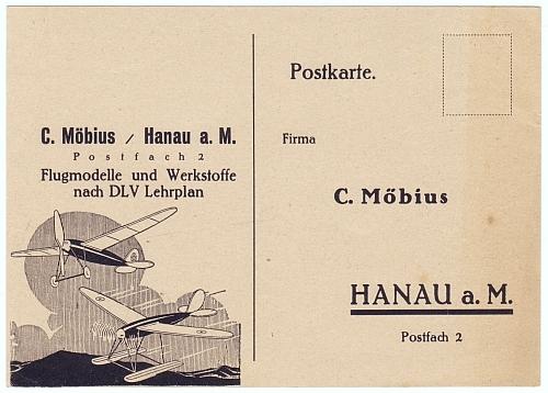 Firma C. Möbius, Hanau a.M. Flugmodelle und Werkstoffe nach DLV Lehrplan. Postkarte zum Bestellen von Flugmodellen der Firma Möbius.