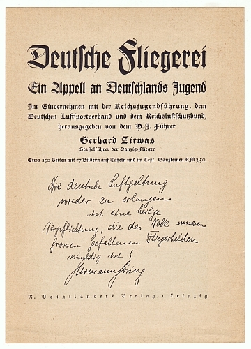 Voigtländer-Verlag Leipzig. Deutsche Fliegerei. Ein Appell an Deutschlands Jugend... herausgegeben von Gerhard Zirwas. Verlagswerbeblatt und Bestellschein.