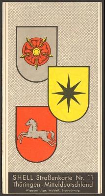Shell (Reisedienst): Shell Straßenkarte Nr. 11: Thüringen - Mitteldeutschland. Farbige Karte Maßstab 1:725 000.