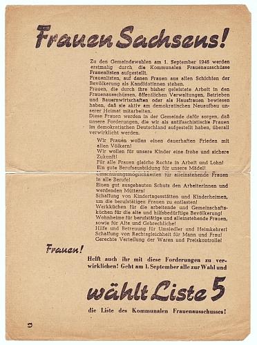 Kommunaler Frauenausschuss. Frauen Sachsens! Wählt Liste 5.
