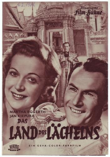 Illustrierte Film-Bühne Nr. 1700: Das Land des Lächelns. Regie Hans Deppe. Nach Franz Lehar. Mit Martha Eggerth, Jan Kiepura.
