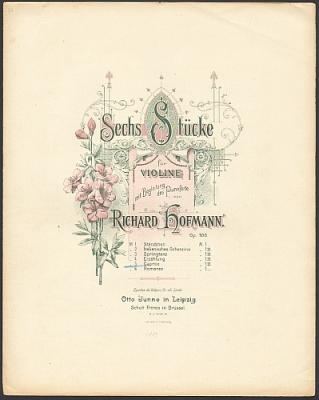 Hofmann, Richard: Sechs Stücke für Violine mit Begleitung des Pianoforte op. 105 von Richard Hofmann. No. 5 Caprice.