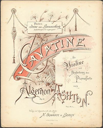 Ashton, Algernon: Cavatine für Violine mit Begleitung des Pianoforte von Algernon Ashton, op. 61.