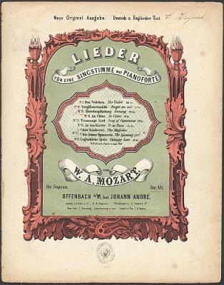 Mozart, W.A. Lieder für eine Singstimme (Alt) mit Pianoforte: Nr. 3 Abendempfindung.