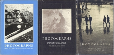 Swann Galleries. Photographic literature & 19th century photographs. Classics of American & European Photojournalism. 20th century photographs. Auction Sale 1604 (October 14, 1992) + Auction Sale 1623 (April 7, 1993) + Auction Sale 1688 (April 4, 1995). =
