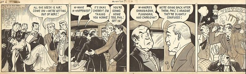 "Frank E. Leonard (1896-1970), i.e. Lank Leonard: 10 Blatt handgezeichntete Mickey-Finn-Comicstrips für ""The McNaught Syndicate"" von Lank Leonard."