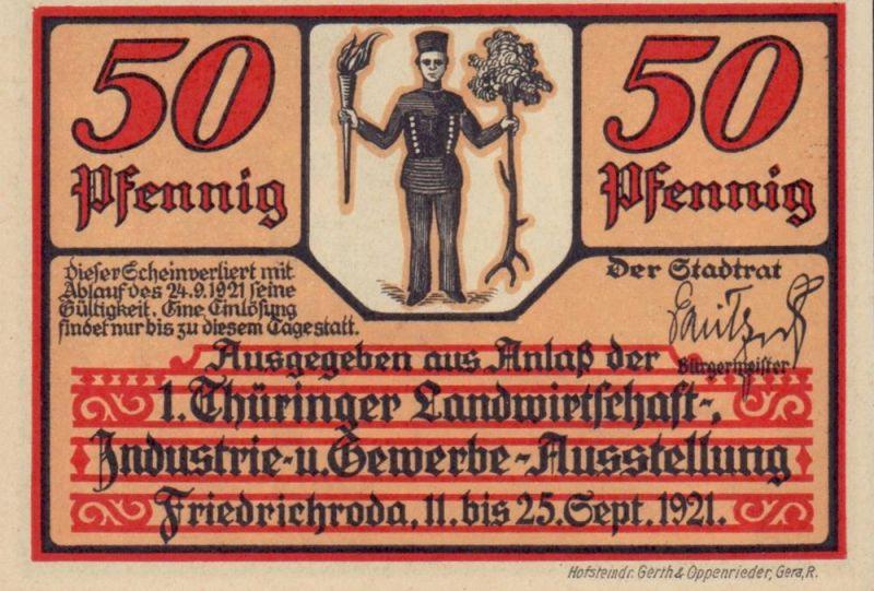 Notgeld der Stadt Friedrichroda in Thüringen. Vier Scheine à 50 Pfennig.