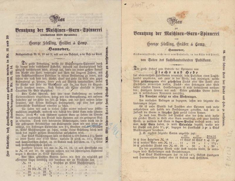 Plan zur Benutzung der Maschinen-Garn-Spinnerei von George Stelling, Gräber & Comp. Hannover. Der große Bedarf zum Betriebe der Spinnerei von Flachs und Hede hat obenerwähnte Fabrikanten veranlaßt, dem Publikum einen Tauschhandel anzubieten, und zwar i...