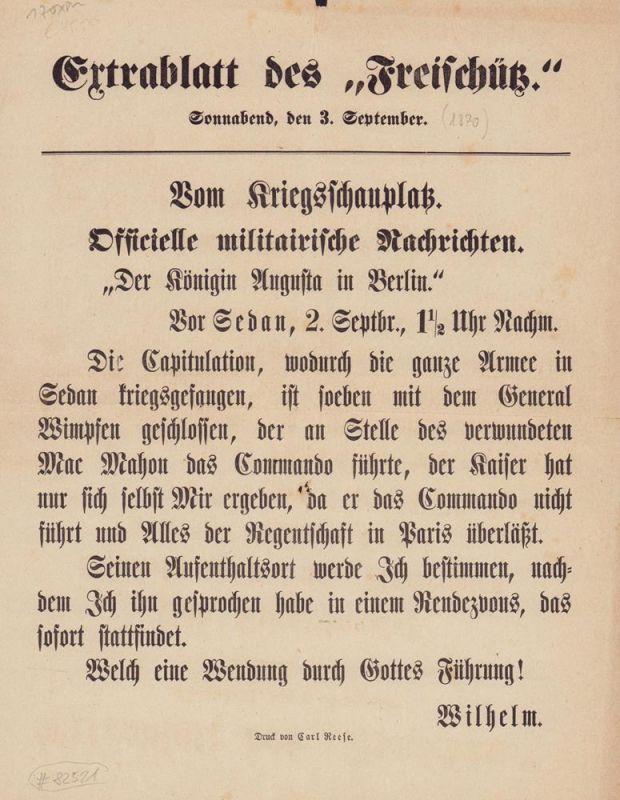 """Extrablatt des """"Freischütz"""", Sonnabend, den 3. September. Schlagzeile: """"Vom Kriegsschauplatz. Officielle militairische Nachrichten"""". """"Der Königin Augusta in Berlin""""."""