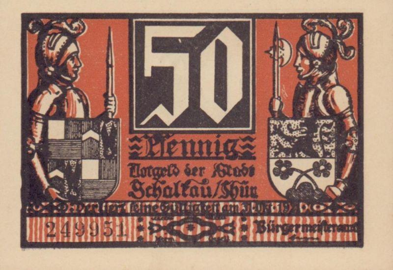 Notgeld der Stadt Schalkau in Thüringen. Sechs 50 Pfenning-Scheine mit verschiedenen Motiven u. in verschiedenen Farben.