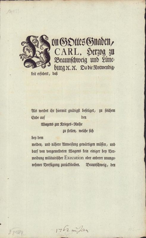 [Befehlsschreiben betreffend der Enteignung von Vehikeln zu Kriegszwecken].