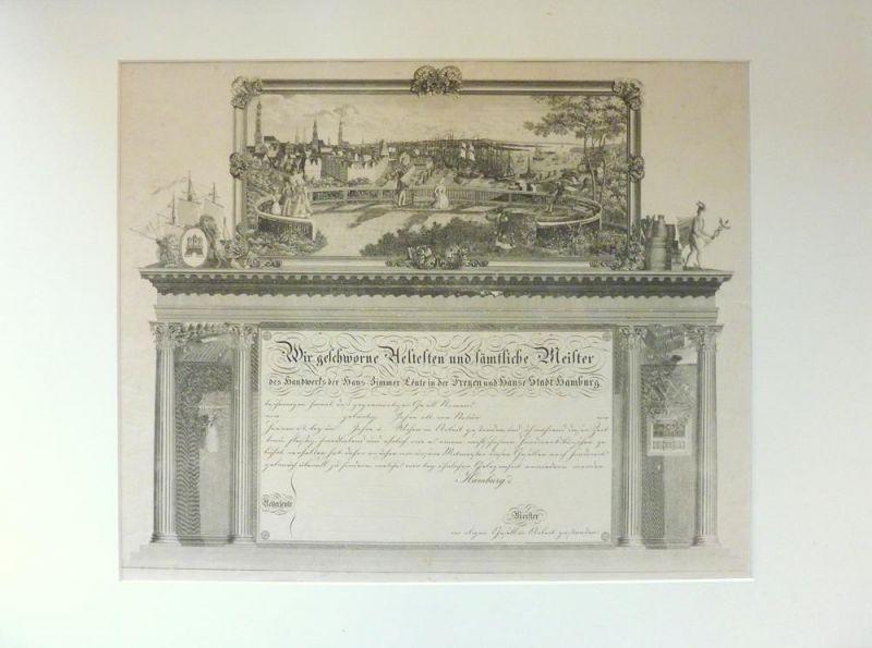 Handwerkskundschaft - Zimmermannszunft. In Kupfer gestochen mit Panorama der Stadt Hamburg u. allegorischen Figuren.