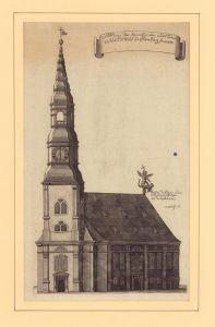 Abbildung der Neuen Kirchen und Thurms zu S. Salvatoris in Hamburg, Anno 1668. Kupferstich von C. Dircks.