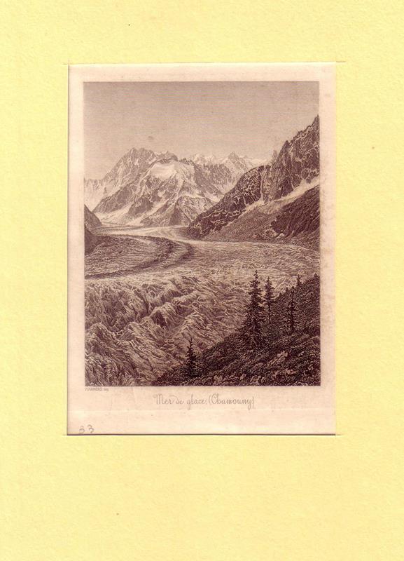 Mer de glace (Chamouny). Stahlstich von P. Ahrens.