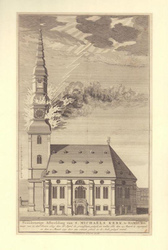 Naaukeurige Afbeelding van S. Michaels Kerk te Hamburg. waar van in den Jaare 1649 den 26 April de grondsteen gelegd, en welcke 1661 den 14 Maart is ingewyd, en den 10 Maart 1750 door een onweer geheel in de Asch gelegd wierd. F. N. Rolfsen fecit. H. Spil