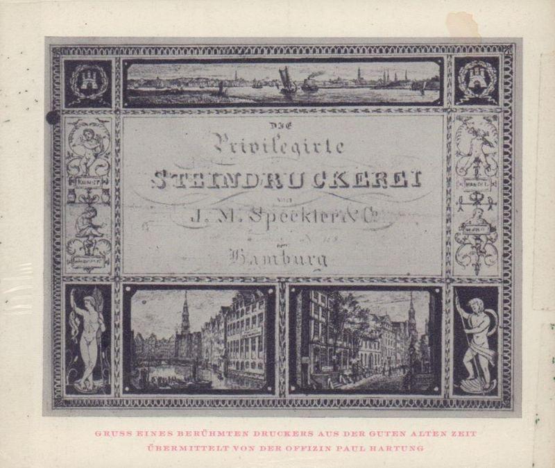 Jahresessen der Gesellschaft der Bücherfreunde zu Hamburg 19.2.64. [Menukärtchen].